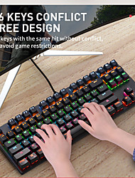 cheap -K870 USB Wired Mechanical Keyboard Gaming Keyboard Gaming Waterproof Multicolor Backlit 87 pcs Keys