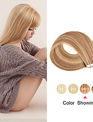 cheap -Tape In Human Hair Extensions 20pcs 12'' 14'' 16'' 18'' 20'' 22'' 24'' Straight PU Skin Weft Remy Tape Human Hair Ombre Color