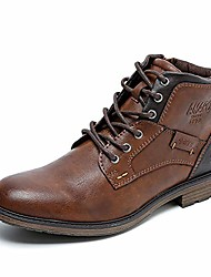 cheap -but& #39;s oxfords derby boots motorcycle ankle dress shoes mid-top lace-up and zipper & # 40; 20701-brn-40& #41;