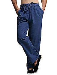 cheap -mens summer cotton linen long casual pants elastic waist loose fit beach pants (medium, 02-blue)