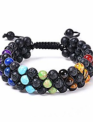 cheap -natural stone beads chakra bracelet 8mm lava rock 7 chakra stone bracelet adjustble essential oil diffuser bracelets meditation relax healing 3-layer bangle for men