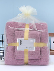 cheap -LITB Basic Bathroom Soft Absorbent Bath Towel & Hand Towel Comfortable Coral Fleece Solid Colored Daily Home Bath Towels 2 pcs in 1 Set 70*140 & 35*75cm