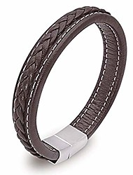 cheap -mens leather bracelet stainless steel magnetic clasp braided genuine leather bracelet for men, black and brown (brown, 8.3)…