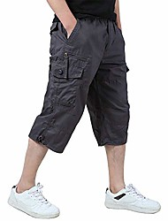 cheap -men's capri pants relaxed fit military shorts outdoor messenger capri shorts purplish gray(1219-gray-s) size 32