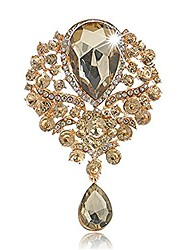 cheap -women's crystal silver-tone bouquet flower teardrop large gorgeous bouquet brooch pin (gold)