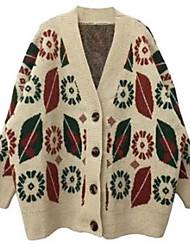 cheap -Women's Knitted Geometric Cardigan Acrylic Fibers Long Sleeve Sweater Cardigans V Neck Fall Winter Beige