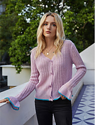cheap -Women's Letter Fall & Winter Sweater Coat Regular Daily Long Sleeve Acrylic Coat Tops Purple
