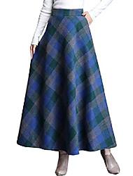 cheap -women's winter warm wool plaid a-line pleated maxi long skirt back elastic (small, blue plaid)