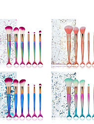 cheap -Factory direct sales of new 6 mermaid makeup brushes set colorful gradient handle PVC packaging beauty makeup tools
