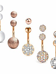 cheap -belly button rings surgical stainless steel 14g belly ring sparkly cz navel piercings jewelry for women girls 10mm bar replacement ball pack rose gold