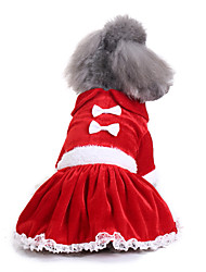 cheap -Dog Dress Christmas Princess Casual / Daily Fashion Winter Dog Clothes Red Costume Down Cotton S M L XL