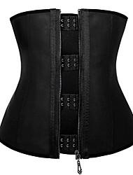 cheap -latex corset zipper waist trainer shapewear smooth rubber waist cincher large black