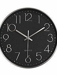 cheap -battery operated silent non-ticking wall clock digital quiet sweep office decor clocks, silver plastic frame glass cover