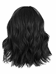 cheap -clearance short wavy bob wig for black women middle part curly full hair wig with air bangs heat resistant synthetic fiber cosplay party wig (black)