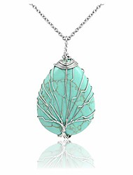 cheap -healing crystals synthetic green turquoise teardrop gemstone necklace tree of life silver copper wire wrapped pendant necklaces reiki quartz jewelry for womens