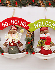 cheap -Christmas decoration vine circle wreath door hanging plush Santa snowman ornament