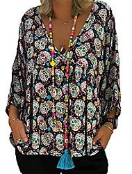 cheap -plus size women skull print v neck blouse 3/4 sleeve loose casual halloween tops size xl (black)