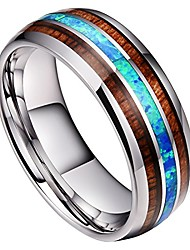cheap -8mm mens tungsten carbide ring real blue opal rare koa wood inlay wedding band high polished (10)