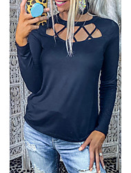cheap -Women's Blouse Solid Colored Long Sleeve Cut Out Round Neck Tops Basic Basic Top Royal Blue