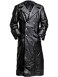 cheap -german classic military officer black trench coat for men - black coat