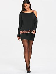 cheap -Women's Sheath Dress Short Mini Dress Black Purple Wine Long Sleeve Print Backless Sequins Patchwork Fall One Shoulder Formal 2021 S M L XL XXL