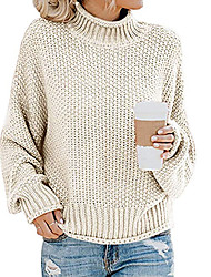 cheap -Women's Vintage Style Braided Solid Color Pullover Sweater Long Sleeve Sweater Cardigans Turtleneck Fall Winter Black Blue Wine