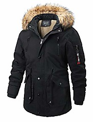 cheap -men's winter warm coat hooded outdoor thick jackets with removable faux fur collar hood-black-xs