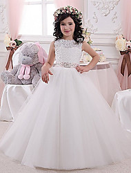 cheap -Princess / Ball Gown Floor Length Party / Wedding Flower Girl Dresses - Lace / Tulle Sleeveless Jewel Neck with Sash / Ribbon / Pleats / Solid