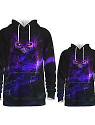 cheap -Daddy and Me Active Owl Graphic 3D Print Animal Print Long Sleeve Regular Hoodie & Sweatshirt Purple