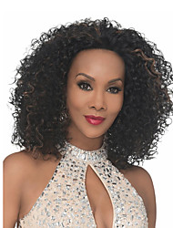 cheap -Synthetic Wig Curly Afro Asymmetrical Wig Short Black Synthetic Hair Women's Fashionable Design Creative Party Black