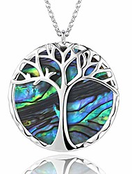 cheap -jewelry-trends-tree-of-life-girls,silver adjustable natural paua shell pendant necklaces, unique personalize handmade double-sided design stylish grace fashion perfect jewelry choice
