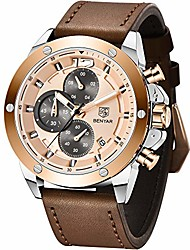 cheap -benyar men's analog chronograph watch with leather bracelet by5165m