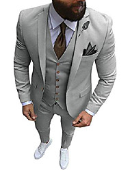 cheap -men's suit casual 3 pieces slim fit business party best men suits peaked lapel formal suit(38 regular,silver grey)