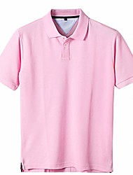 cheap -men's casual 100% cotton solid short sleeve pique polo shirt pink