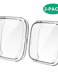 cheap -screen protector case compatible with fitbit versa 2, all-around screen protective case bumper cover saver soft tpu case compatible with versa 2 smartwatch accessories(clear,2-pack)