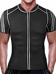 cheap -men weight loss workout short sleeve shirt neoprene waist trainer body shaper sweat sauna vest with zipper (black, 4xl)
