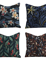 cheap -Set of 4 Linen Cotton / Linen Pillow Cover Pillowcase Sofa Cushion Square Throw Pillow Rainforest Colorful Beauty Flower Pillows Case 45*45cm