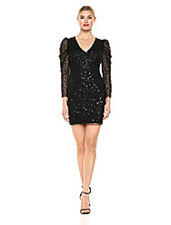 cheap -women's sequin dress with ruched long sleeves, black, 6