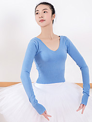 cheap -Ballet Top Solid Women's Training Performance Long Sleeve Natural Orlon