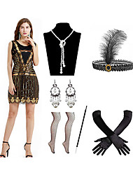 cheap -A-Line Elegant Vintage Party Wear Cocktail Party Dress Jewel Neck Sleeveless Short Mini Spandex with Sequin Tassel 2020
