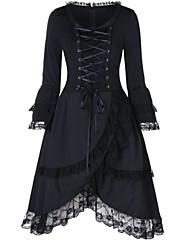 cheap -Women's Sheath Dress Midi Dress - Long Sleeve Solid Color Lace Spring Fall Plus Size Elegant Vintage 2020 Black S M L XL XXL 3XL 4XL 5XL