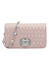 cheap -Women's Bags PU Leather Top Handle Bag Pearls Chain Handbags Daily Black Blushing Pink Beige Gray