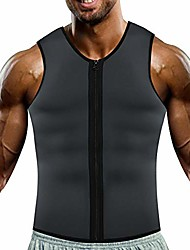 cheap -men neoprene sweat sauna vest workout waist trainer slimming tank top fat burner for weight loss (grey and blue inner, 3xl).