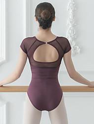 cheap -Activewear Dance Leotard / Onesie Split Joint Solid Women's Training Performance Short Sleeve High Mesh Milk Fiber Gills Violet XL