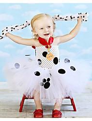 cheap -Kids Girls' Cute Black & White Polka Dot Mesh Sleeveless Above Knee Dress White