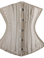 cheap -Corset Women's Plus Size Bustiers Corsets Underbust Corset Classic Tummy Control Fashion Solid Color Hook & Eye Lace Up Nylon Polyester / Cotton Christmas Halloween Wedding Party Birthday Party Fall