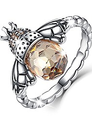 cheap -sterling silver queen bee with clear cubic zircon stacking band ring,size 10