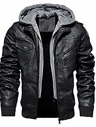 cheap -men's faux-leather jacket motorcycle biker jackets with removable hood, black, xl