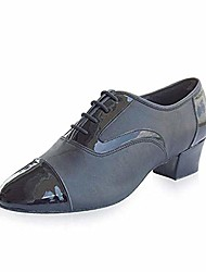 cheap -men's stylish lace-up leather dance shoes modern salsa ballroom latin tango evening party dance shoes block heel black 11 m us