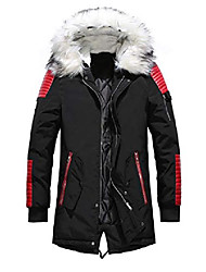 cheap -men's winter warm faux leather spliced padded long down alternative parka coat fur hood (medium, red)